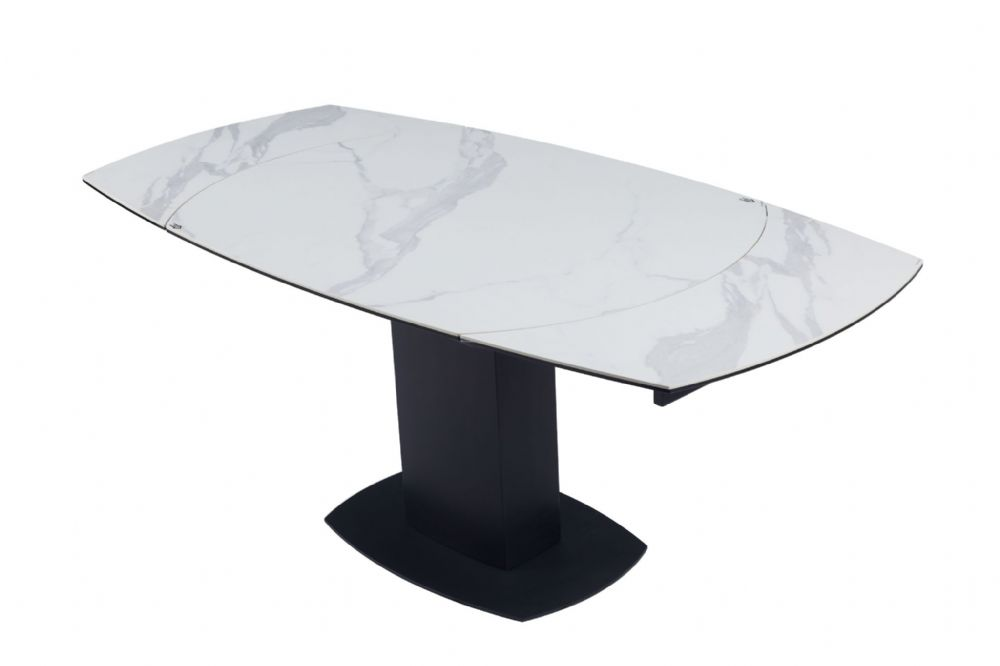 Swivel Motion White Ritz Extending Marble Dining Table